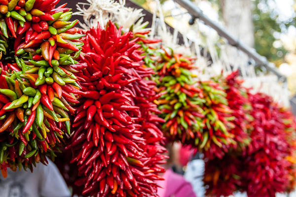Chile Ristra Art Print featuring the photograph Hanging Chili Pepper Ristras At Farmers Market by Teri Virbickis