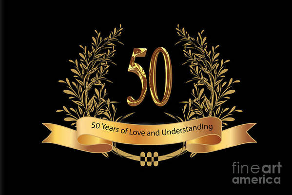 photograph regarding 50th Wedding Anniversary Cards Free Printable called 50th Wedding day Anniversary Greeting Playing cards Artwork Print