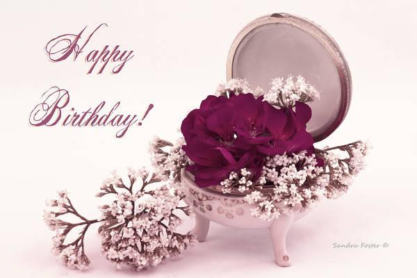 Happy Birthday Card Pink Geranium In Vintage Dish Art Print By