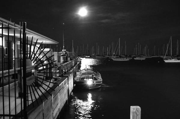 Night Art Print featuring the photograph Harbor Boat At Night by Gregory Lafferty