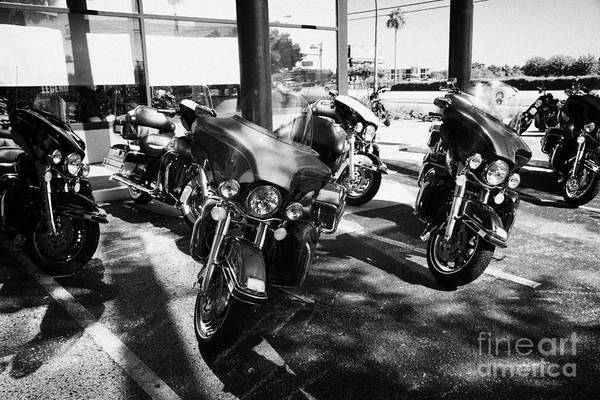 Harley-davidson Art Print featuring the photograph Harley Davidson Touring Motorbikes Including Electra Glide Outside Dealership In Orlando Florida Usa by Joe Fox