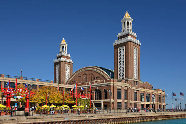 Navy Art Print featuring the photograph Headhouse Chicago Navy Pier by Christine Till