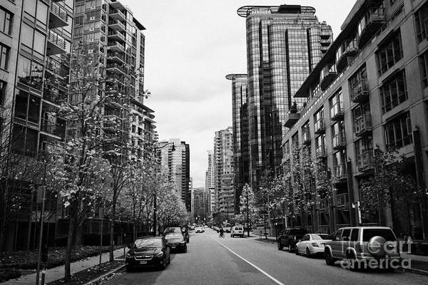High-rise Print featuring the photograph high rise apartment condo blocks in the west end west pender street Vancouver BC Canada by Joe Fox
