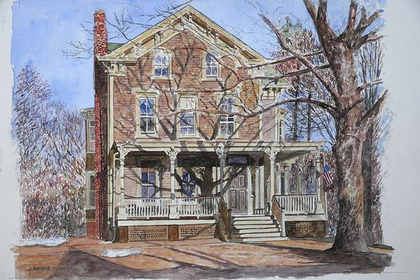 North American Art Print featuring the painting Historic Home Westifled New Jersey by Anthony Butera