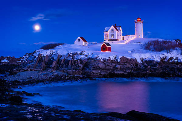 Cape Neddick Art Print featuring the photograph Holiday Moon by Michael Blanchette