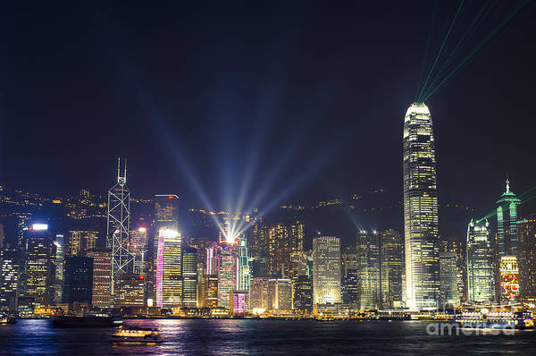 Light Art Print featuring the photograph Hong Kong Skyline by Tuimages