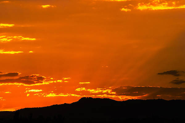 Horsetooth Rock Art Print featuring the photograph Horetooth Rock At Sunset by Rebecca Adams