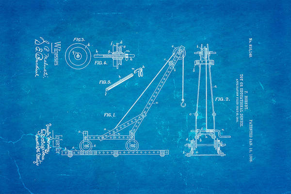 Construction Art Print featuring the photograph Hornby Meccano Patent Art 1906 Blueprint by Ian Monk