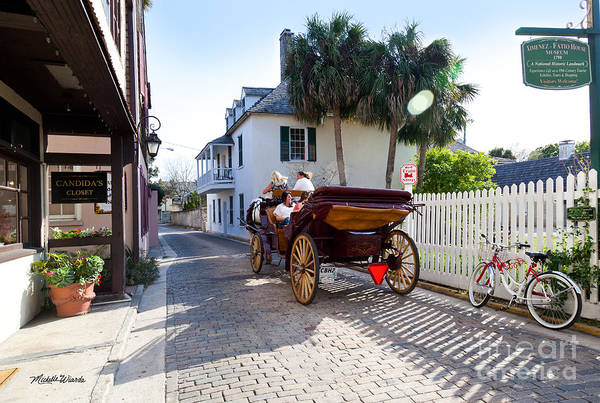 Horse And Buggy Ride St Augustine Art Print featuring the photograph Horse And Buggy Ride St Augustine by Michelle Wiarda