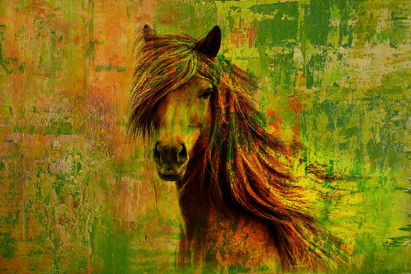Horse Print featuring the painting Horse Paintings 001 by Catf