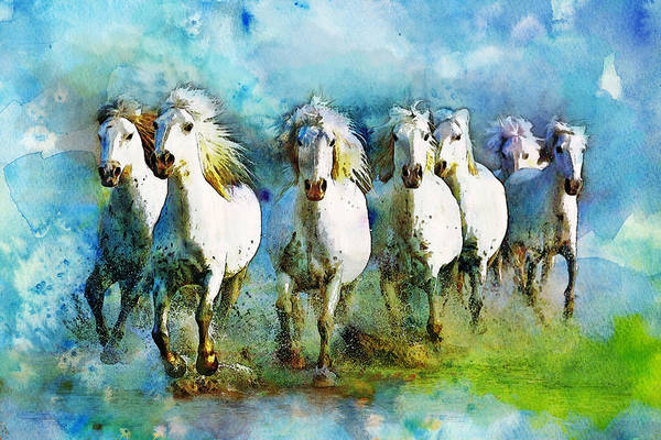 Horse Art Print featuring the painting Horse Paintings 006 by Catf