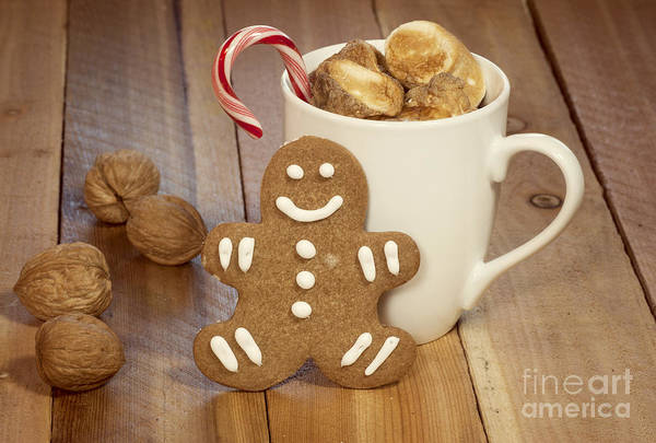 Baked Art Print featuring the photograph Hot Cocoa And Gingerbread Cookie by Juli Scalzi