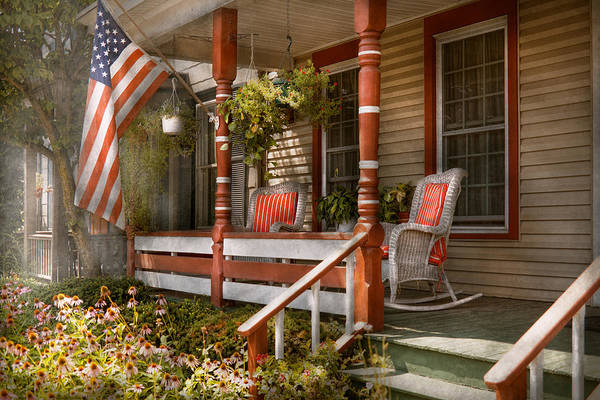 Porch Art Print featuring the photograph House - Porch - Traditional American by Mike Savad