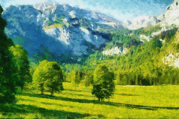 Valley Art Print featuring the painting How Green Was My Valley by Ayse Deniz