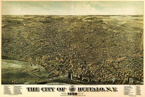 Howards Map Of Buffalo New York 1880 Art Art Print featuring the painting Howards Map Of Buffalo New York 1880 by MotionAge Designs