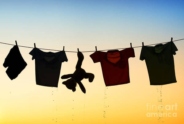 Teddy Bear Art Print featuring the photograph Hung Out To Dry by Tim Gainey