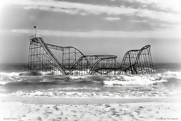 Hurricane Sandy Photographs Art Print featuring the photograph Hurricane Sandy Jetstar Roller Coaster Black And White by Jessica Cirz