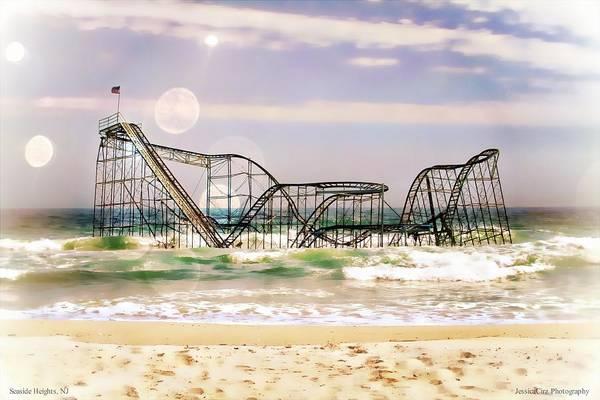 : Hurricane Sandy Photographs Art Print featuring the photograph Hurricane Sandy Jetstar Roller Coaster Sun Glare by Jessica Cirz