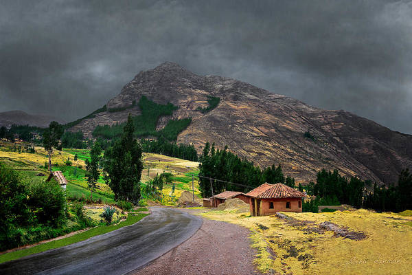 Hut In A Rainy Day By The Road Near The Mountain In Peru Art Print