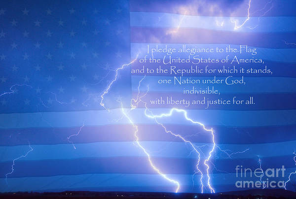 Lightning Print featuring the photograph I Pledge Allegiance To The Flag by James BO Insogna