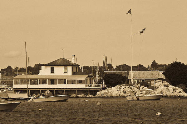 Yacht Club Newport B&w Sailboat Sea Building Mooring Marina Water Seacoast Art Print featuring the photograph Ida Lewis Yc by Arthur Sa