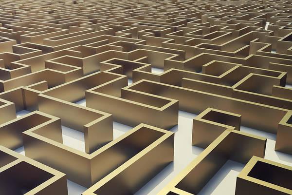 Illustration Gold Labyrinth, Complex Problem Solving Concept  Art Print