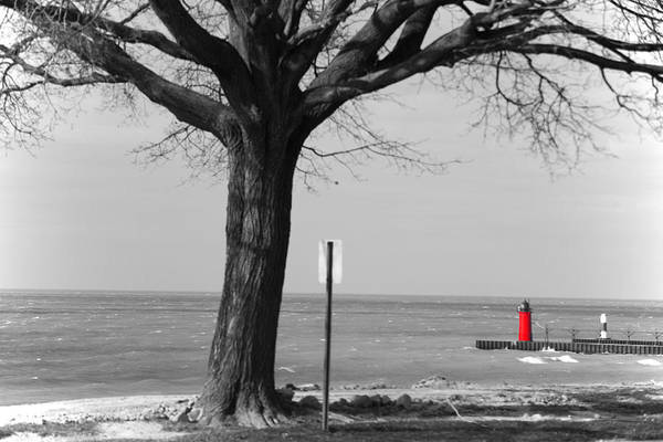 Landscape Art Print featuring the photograph In The Distance South Haven Lighthouse by Ashlee Kuenzli