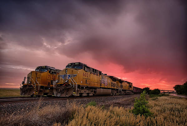 Train Art Print featuring the photograph In Waiting by Thomas Zimmerman