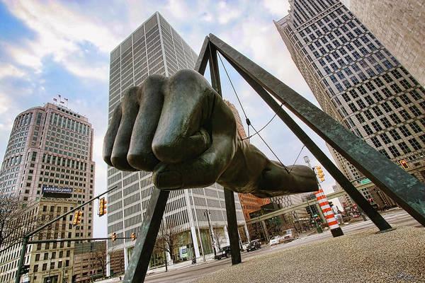 Joe Art Print featuring the photograph In Your Face - Joe Louis Fist Statue - Detroit Michigan by Gordon Dean II