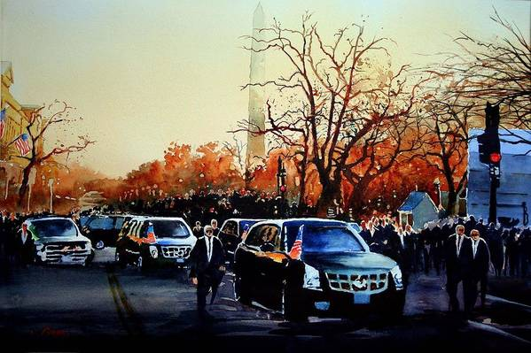 Presidential Inaugural Parade In Washington Dc -president Barrack Obama On Pennsylvania Ave Art Print featuring the painting Inaugural by Ron Bigony