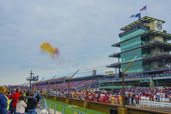 Indy 500 Art Print featuring the photograph Indianapolis 500 May 2013 Balloons Race Start by David Haskett