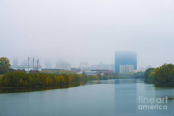 Indiana Art Print featuring the photograph Indianapolis Autumn Skyline Fog by David Haskett