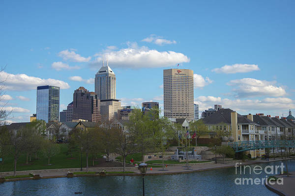 Indy 500 Art Print featuring the photograph Indianapolis Skyline Blue 2 by David Haskett