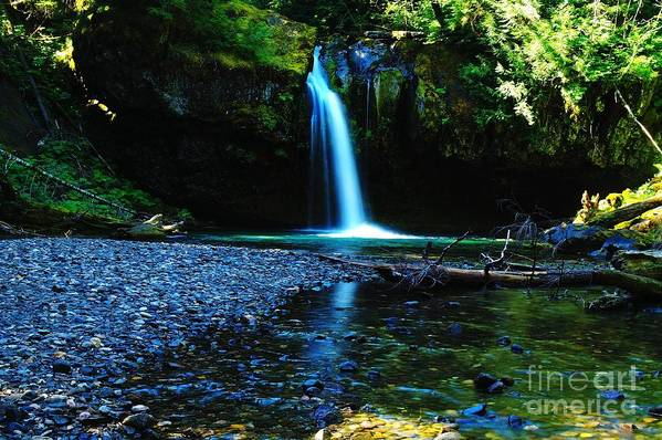 Waterfall. Water Art Print featuring the photograph Iron Creek Falls by Jeff Swan