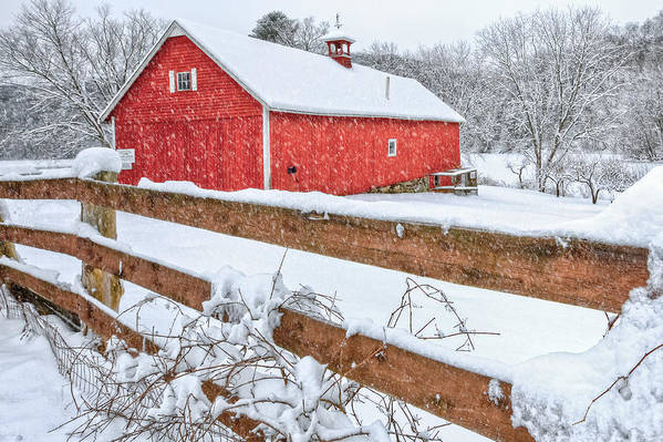 Old Red Barn Art Print featuring the photograph It's Snowing by Bill Wakeley