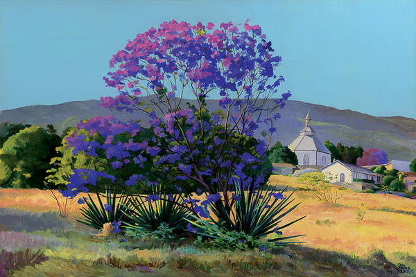 Acrylics Art Print featuring the painting Jacaranda Holy Ghost Church In Kula Maui Hawaii by Don Jusko