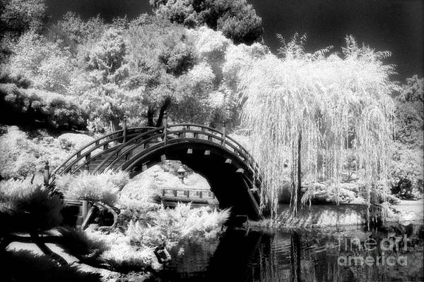 Infrared Art Print featuring the photograph Japanese Gardens And Bridge by Paul W Faust - Impressions of Light