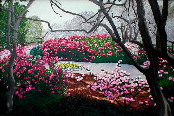 Jasmine Hill Gardens Art Print featuring the painting Jasmine Hill Gardens by Beth Parrish