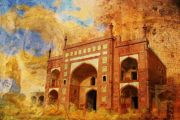 Pakistan Art Print featuring the painting Jhangir Tomb by Catf