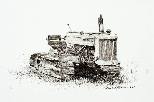 Tractor Art Print featuring the drawing John Deere Crawler by Scott Alcorn