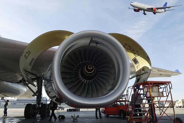 Jumbo-jet Art Print featuring the photograph Jumbo Jet Engine And Aerospace by Christian Lagereek