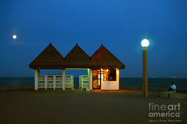 Pier Art Print featuring the photograph Kuwaiti Pier Snack Bar At Dusk by Lawrence Costales