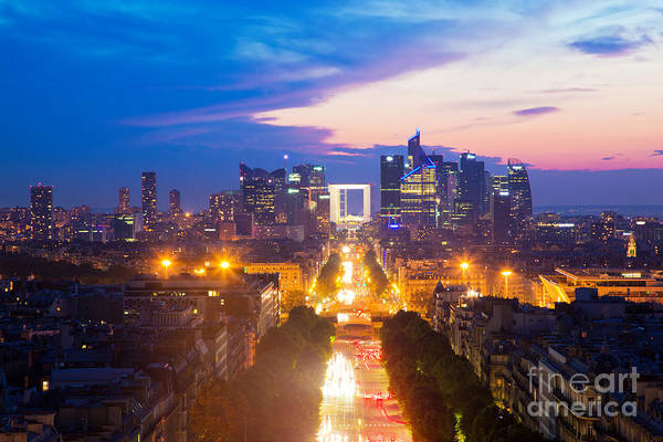 Paris Art Print featuring the photograph La Defense And Champs Elysees At Sunset In Paris France by Michal Bednarek