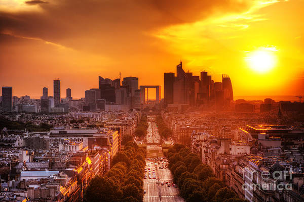 Paris Art Print featuring the photograph La Defense And Champs Elysees At Sunset by Michal Bednarek