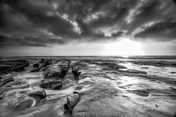 Ocean Art Print featuring the photograph La Jolla In Black And White by Robert Aycock