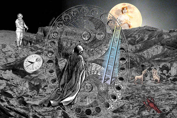 Tarot Art Print featuring the digital art La Luna by Lisa Yount