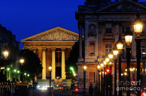 Paris Art Print featuring the photograph La Madeleine At Night by Colin Woods