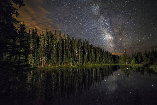 All Rights Reserved Art Print featuring the photograph Lake Irene's Milky Way Mirror by Mike Berenson