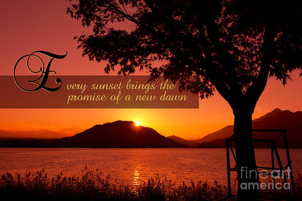 Every Sunset Brings The Promise Of A New Dawn Art Print featuring the photograph Lake Sunset With Promise Of A New Dawn by Beverly Claire Kaiya