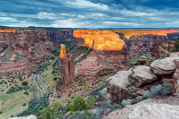 Spider Woman Rock Art Print featuring the photograph Last Light On Spider Rock Canyon De Chelly Navajo Nation Chinle Arizona by Silvio Ligutti